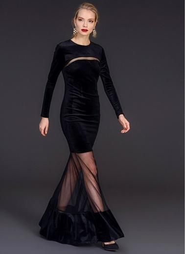 Tül Detaylı Kadife Elbise-People By Fabrika